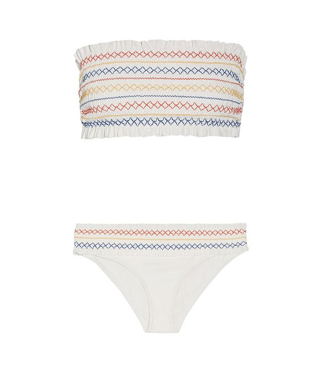Tory Burch Costa Smocked Bandeau Bikini