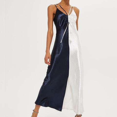 Color Block Satin Maxi Dress