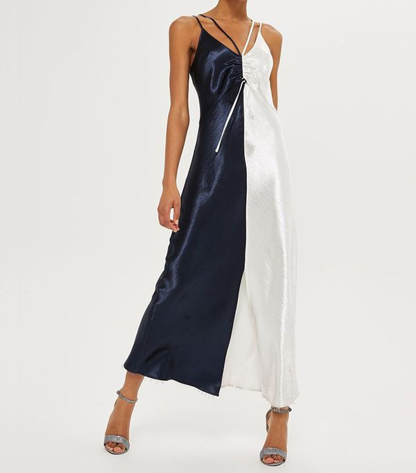 color block slip dress