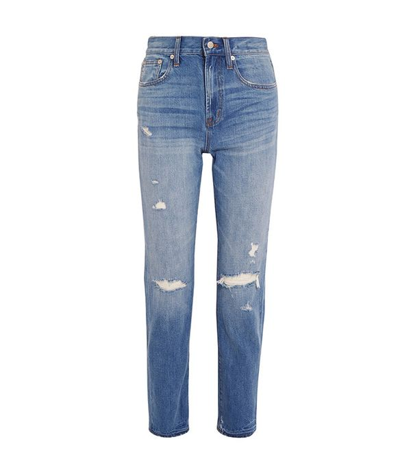 straight leg distressed jeans