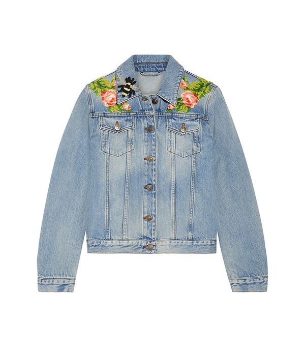 cute jean jackets for Coachella - Gucci Appliquéd Denim Jacket