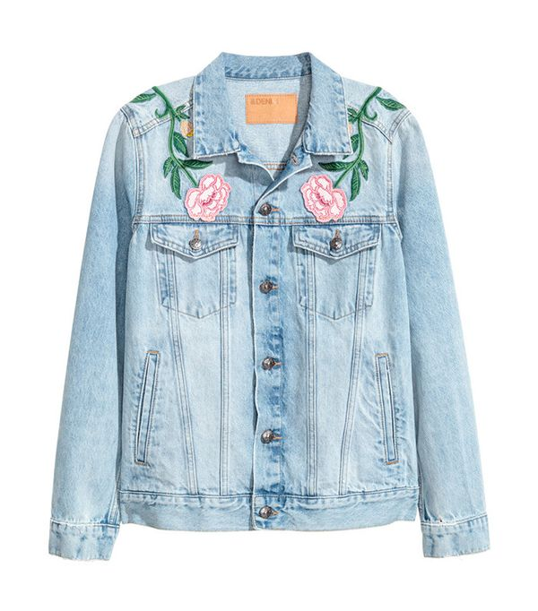 cute jean jackets for Coachella - H&M Embroidered Denim Jacket