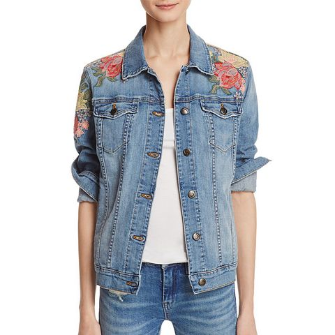 Easy Fit Floral Embroidered Denim Jacket
