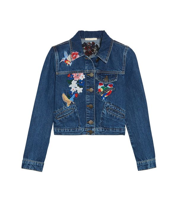 cute jean jackets for coachella - Maje Cropped Embroidered Denim Jacket