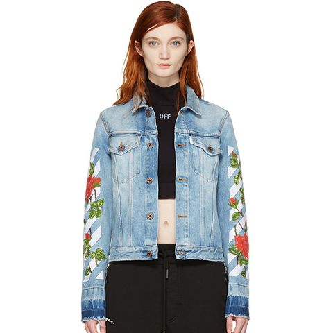 Blue Diagonal Roses Denim Jacket