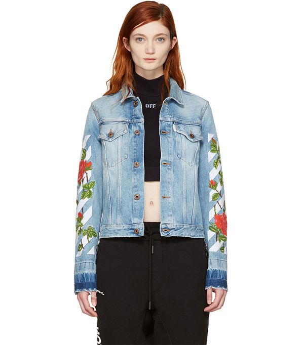 cute jean jackets for coachella - Off-White Blue Diagonal Roses Denim Jacket
