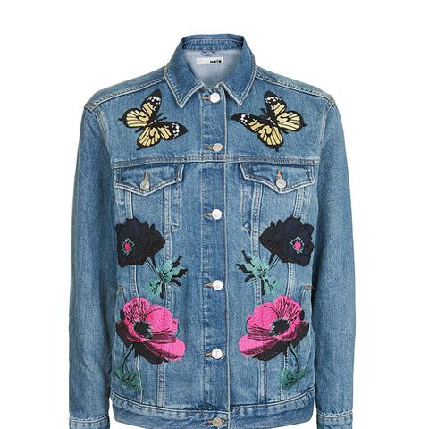 Moto Floral Applique Jacket