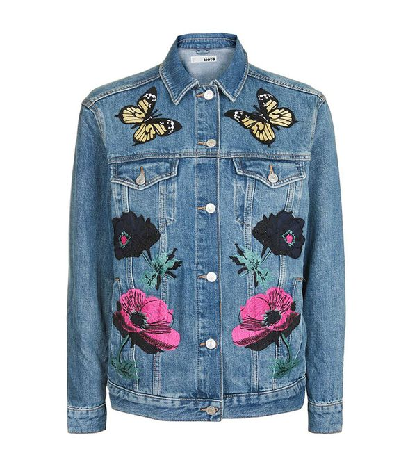 cute jean jackets for Coachella - Topshop Moto Floral Applique Jacket