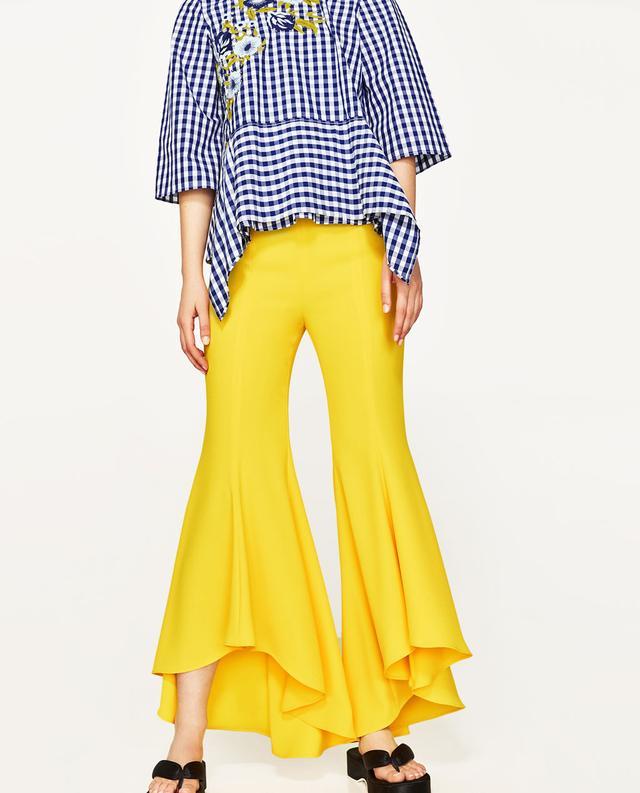 ZaraAsymmetric Flare Trousers($92)