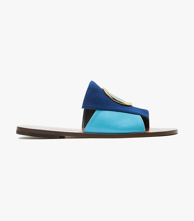 Neous Leather Slide Sandal in Blue