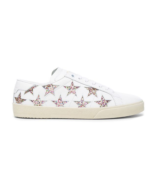 Saint Laurent Leather Court Classic Glitter Star Sneakers