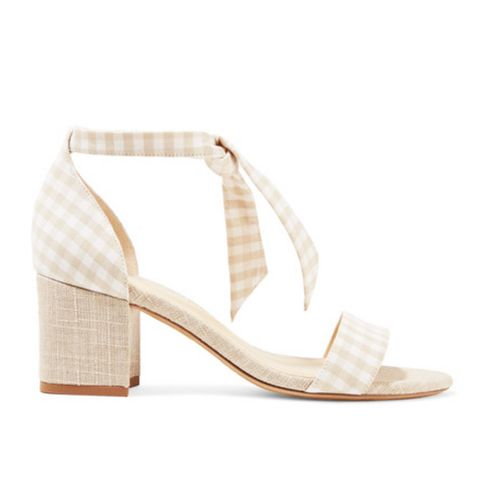 Clarita Bow-Embellished Gingham and Canvas Sandals