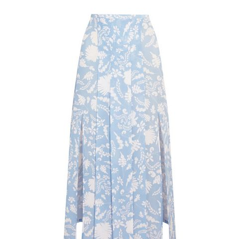 Georgia Pleated Printed Silk-Crepe Midi Skirt