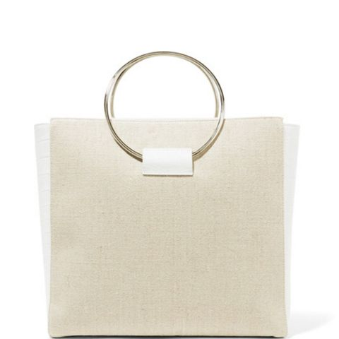 Ring Canvas and Croc-Effect Leather Tote