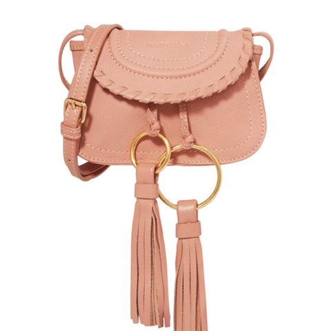 Polly Mini Tasseled Textured-Leather Shoulder Bag