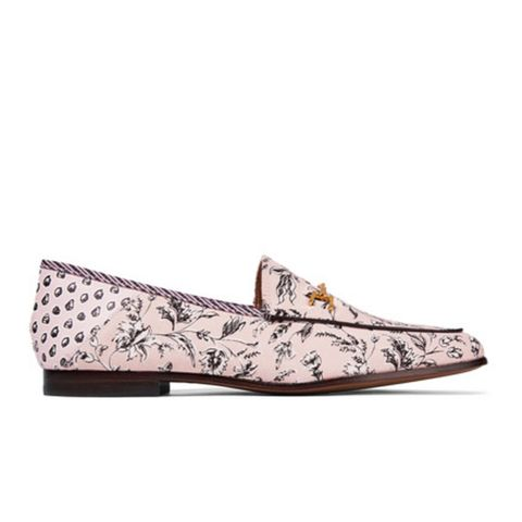 Loraine Leather-Trimmed Printed Canvas Loafers