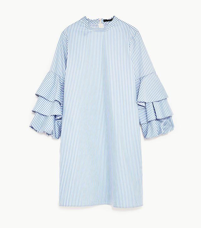 zara frilled mini dress