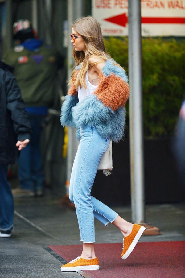 Gigi Hadid style: Orange Reebok trainers