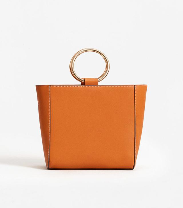 best metallic handle bag - Mango Metallic Handle Tote Bag