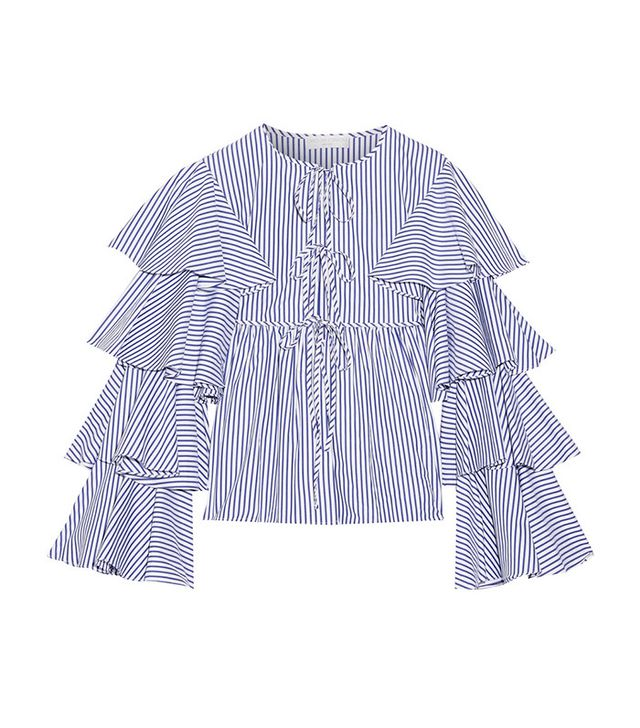 Caroline Constas Nina Ruffled Striped Cotton Oxford Jacket