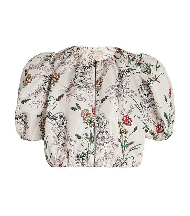 Giambattista Valli Floral-Print Faille Cropped Jacket