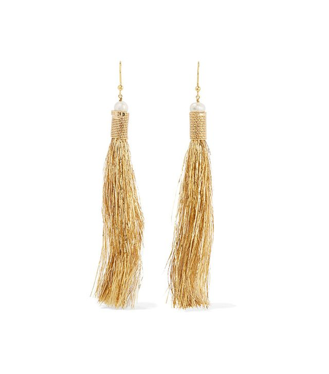 Rosantica Maori Gold-Tone Pearl and Tinsel Earrings