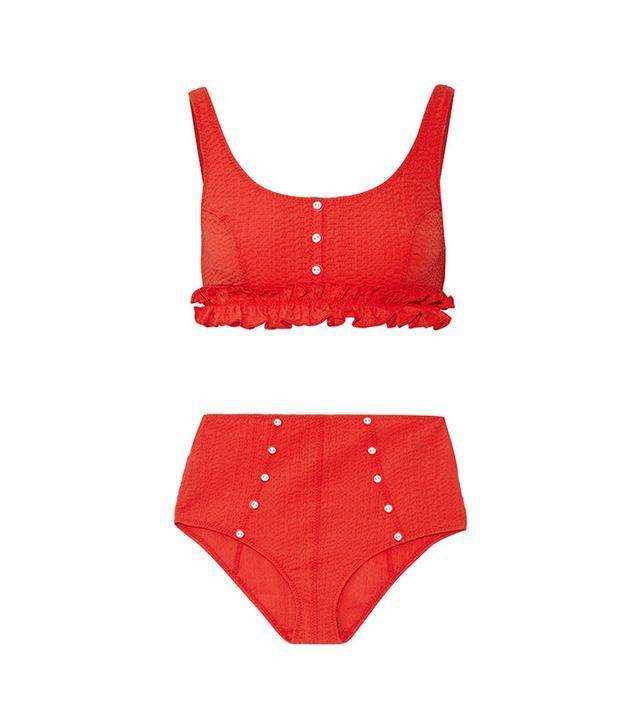 Lisa Marie Fernandez Colby Ruffle-Trimmed Seersucker Bikini