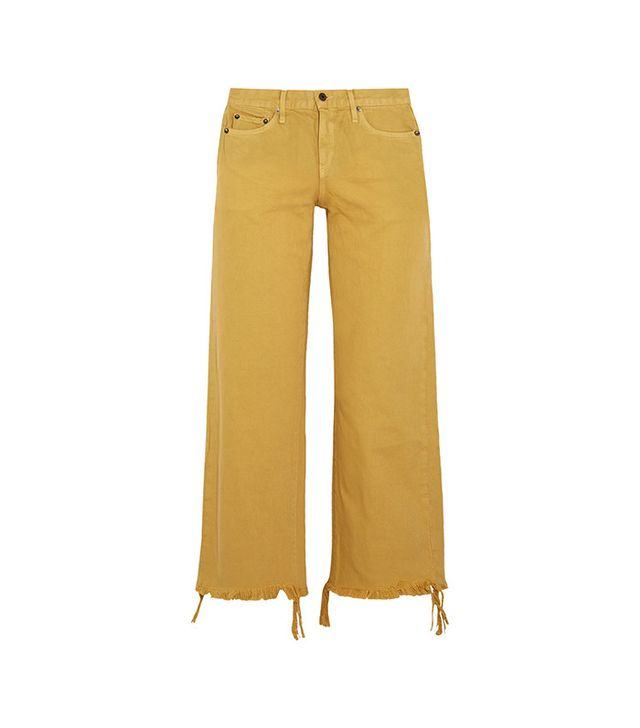 Simon Miller Salado Cropped Frayed Low-Rise Wide-Leg Jeans