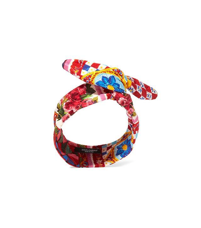 Dolce & Gabbana Cotton-Blend Brocade Headband