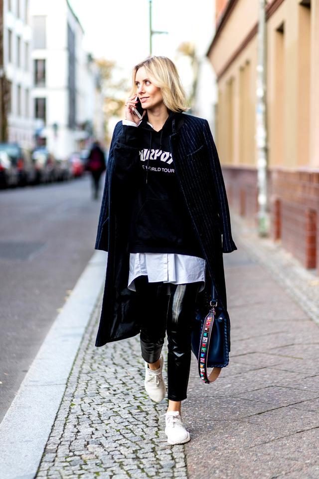 Black vinyl pants street style