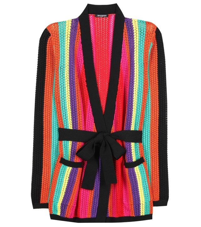 best striped cardigan—Balmain Striped Cardigan
