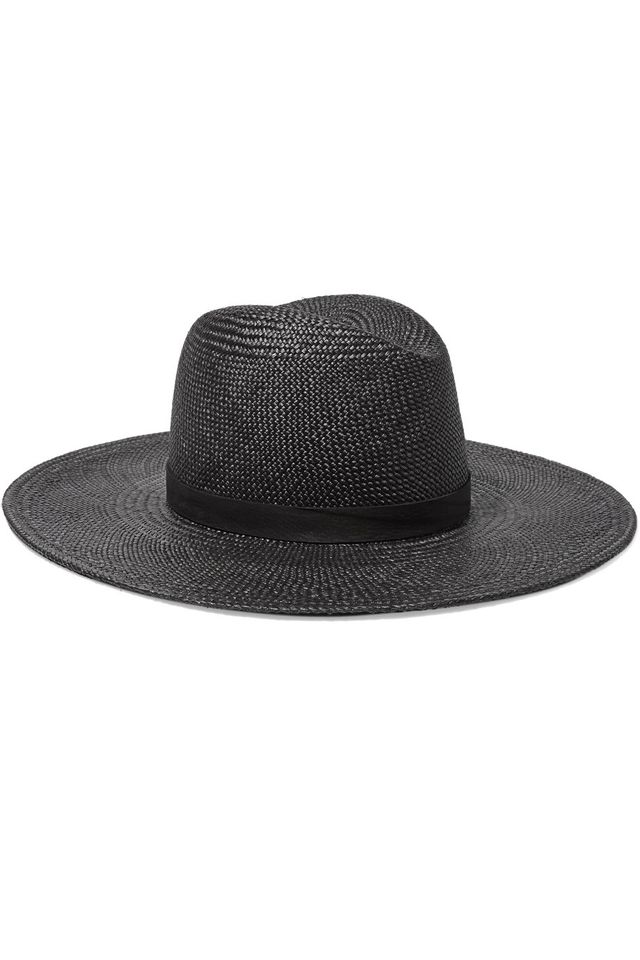 best black hat—Janessa Leone Lynn Leather-Trimmed Straw Panama Hat