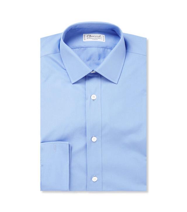 French Fashion Basics: Charvet Blue Cotton Shirt