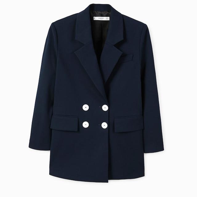 French Fashion Basics: Mango Contrast Buttons Blazer