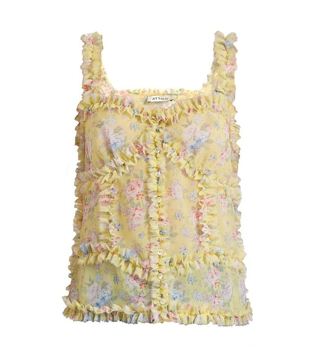 best light tops for spring -  Ruffled Floral-Print Cami Top