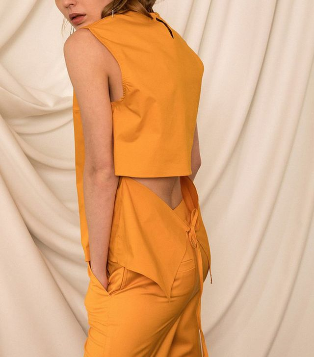 best light tops for spring - yellow open back top