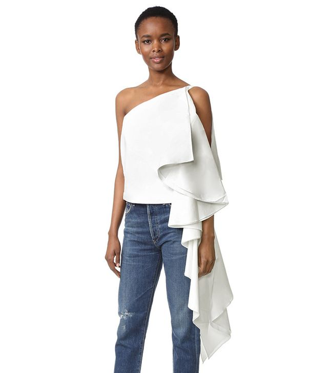 best light tops for spring - white ruffle top
