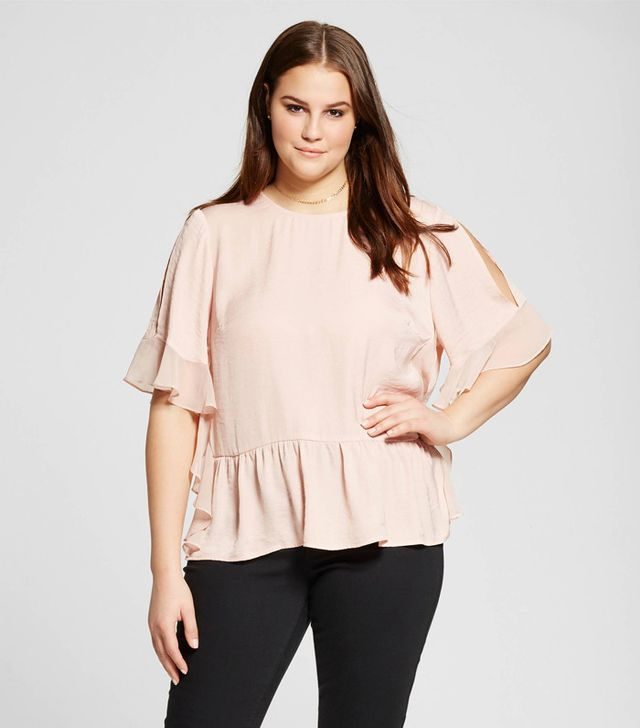 best light tops for spring -  Plus Size Fabric Mix Ruffle Top