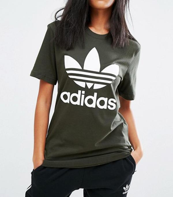 Adidas Originals Khaki Trefoil Boyfriend T-Shirt