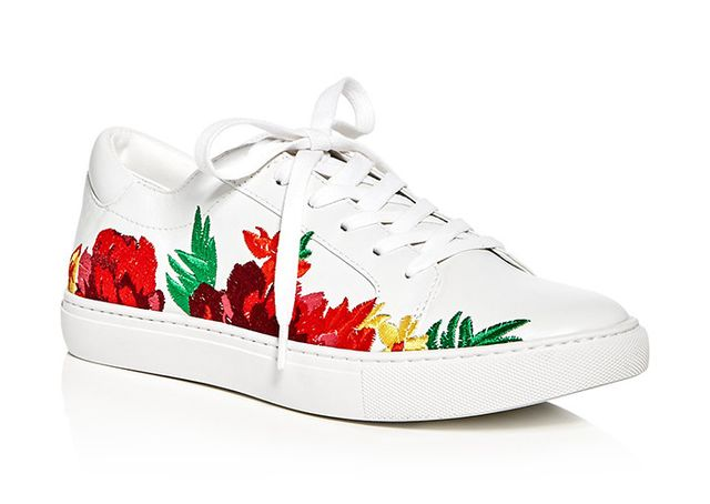 best white embroidered sneakers- Kenneth Cole Kam Embroidered Lace Up Sneakers