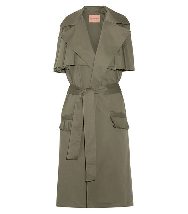 Maggie Marilyn The Brave Ruffle-Trimmed Stretch-Cotton Twill Gilet