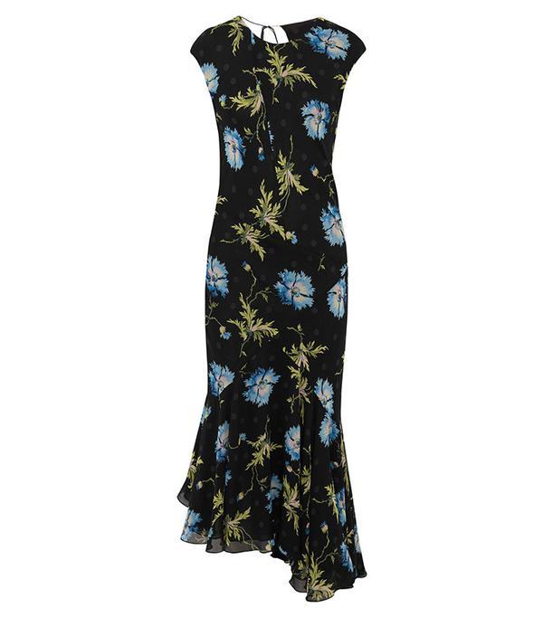 Topshop Unique Evelyn Asymmetric Printed Silk-Georgette Midi Dress