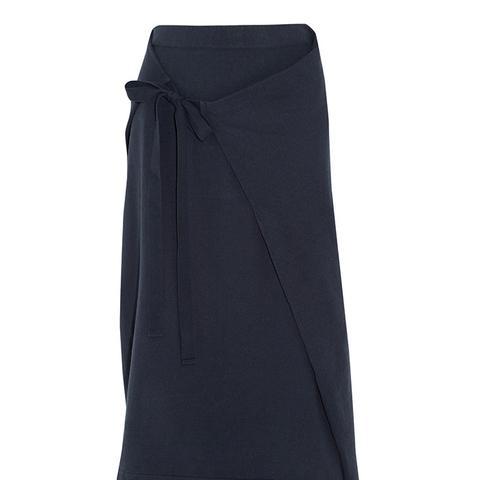 Wrap-Effect Cotton-Jersey Midi Skirt