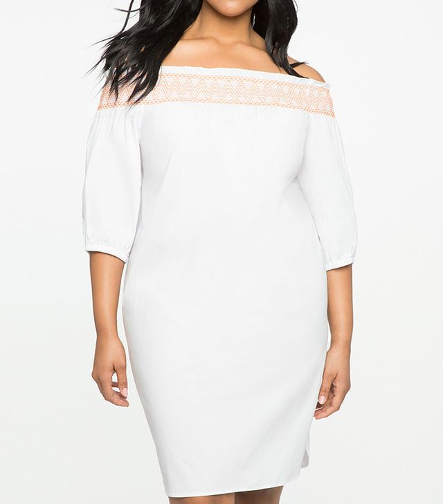 Eloquii Off the Shoulder Dress With Contrast Stitching
