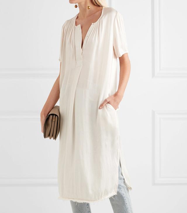 Raquel Allegra Ribbon Frayed Satin Midi Dress