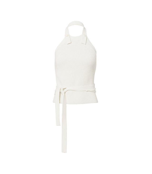 Helmut Lang Ribbed Knit Button-Back Halter Top