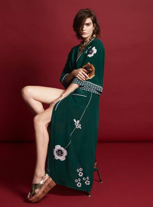 Chelsea De Luca Rosetta Long Silk Emerald Robe
