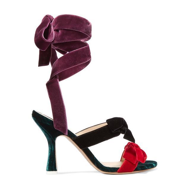 Attico Dilette Bow-Embellished Velvet Heels