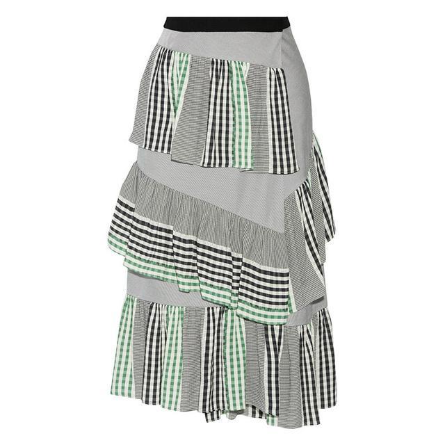 Maje Ruffled Gauze-Trimmed Skirt
