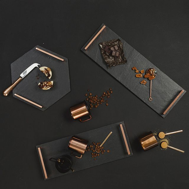 The Slate Company Hexagonal Serving Tray with Copper Handles